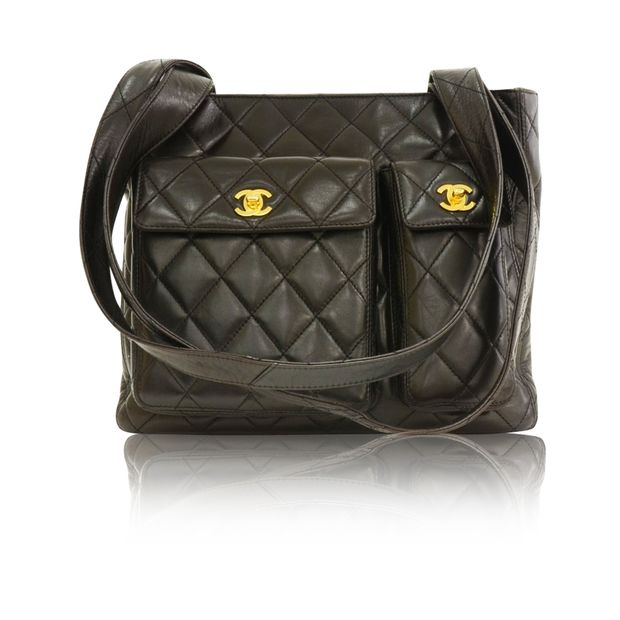 19e496b51f7e Black Quilted Leather Medium Shoulder Tote Bag by CHANEL ...