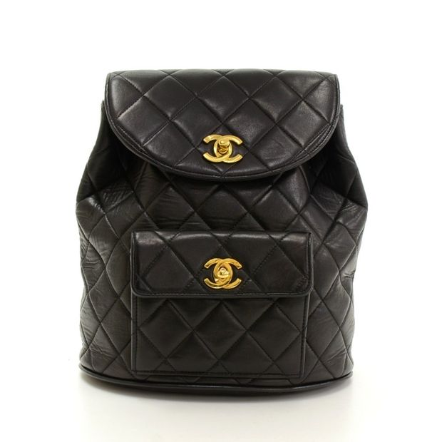 7aac82bac52d Black Quilted Lambskin Leather Medium Backpack Bag by CHANEL ...