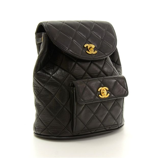 17aa3cf3e9a6 CHANEL Black Quilted Lambskin Leather Medium Backpack Bag 1 thumbnail