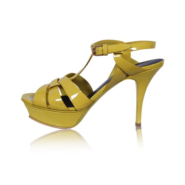 92a37a91a43 Yellow Patent Leather Tribute Platform Sandals by YVES SAINT LAURENT ...
