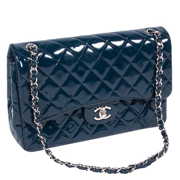 af8e91064a0d09 CHANEL Dark Blue Quilted Patent Leather Jumbo Classic Double Flap Bag 1  thumbnail