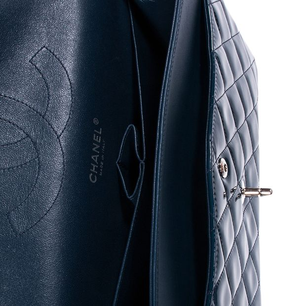 e1262b71cf3851 CHANEL Dark Blue Quilted Patent Leather Jumbo Classic Double Flap Bag 4  thumbnail