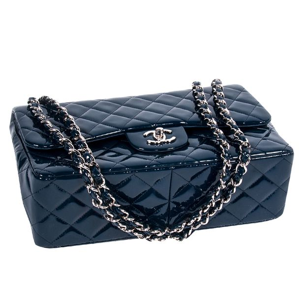 477f325b4f8d64 CHANEL Dark Blue Quilted Patent Leather Jumbo Classic Double Flap Bag 3  thumbnail