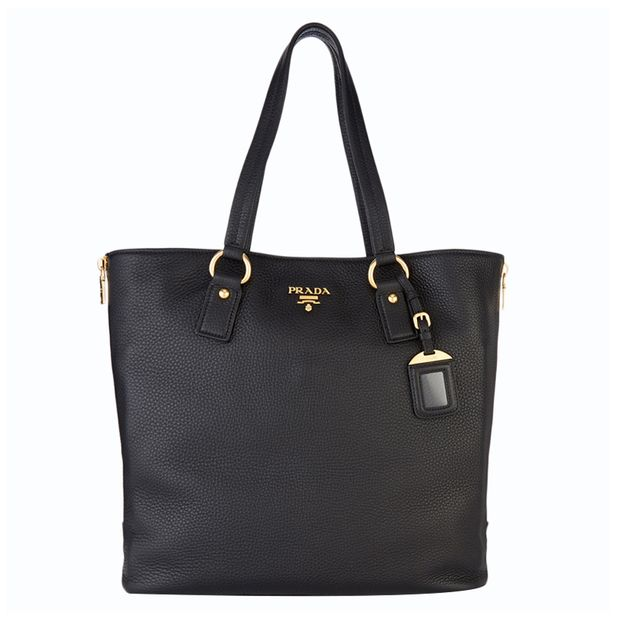 c2d275b28f7e8c Black Vitello Daino Leather Shopping Tote by PRADA | StyleTribute.com