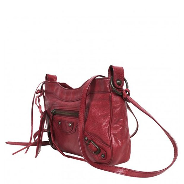 a124117ee3 Burgundy Leather Hip Cross-Body Bag by BALENCIAGA | StyleTribute.com