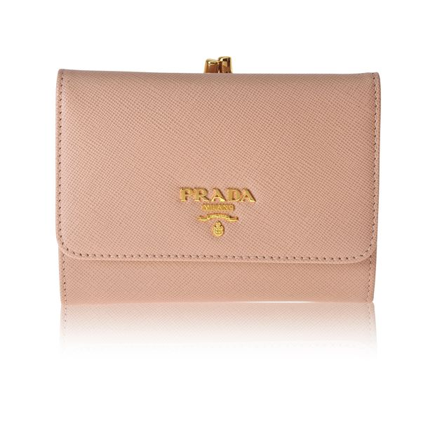 375839d1b03d Saffiano Leather Clasp Wallet by PRADA | StyleTribute.com