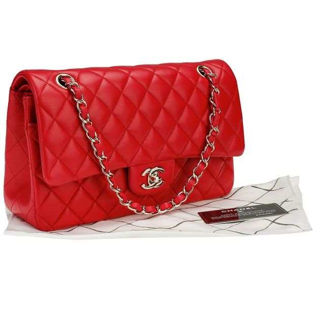3a8e065332da CHANEL Chanel Coral Quilted Lambskin SHW Classic Medium Double Flap Bag ...