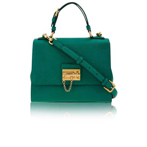 e0a23515797 DOLCE & GABBANA Dolce & Gabbana Green Lizard Embossed Leather Large Monica  Bag ...