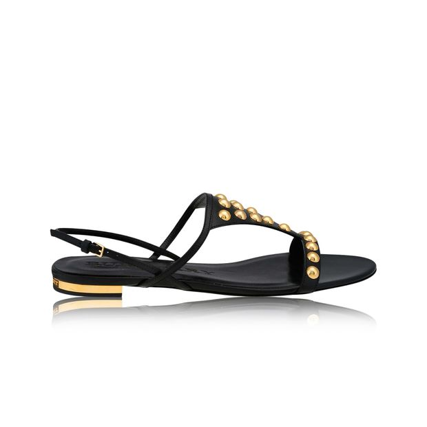 4a6b5e81c3d Burberry Black Leather Studded Parnell Bid Flat Sandals by BURBERRY ...
