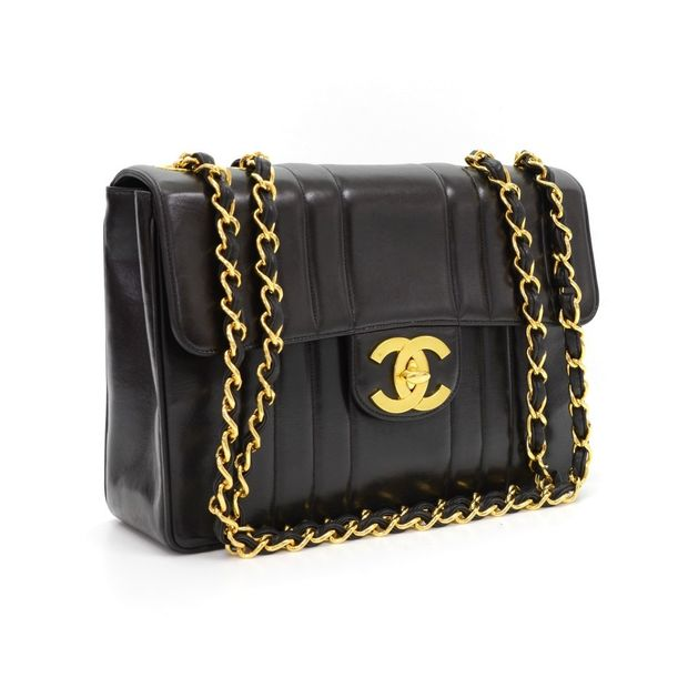 468497690fce CHANEL Vintage Jumbo Black Vertical Quilted Flap Bag 1 thumbnail