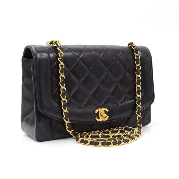 08531f64f79d CHANEL Vintage 10 Diana Classic Black Quilted Leather Shoulder Flap Bag 1  thumbnail
