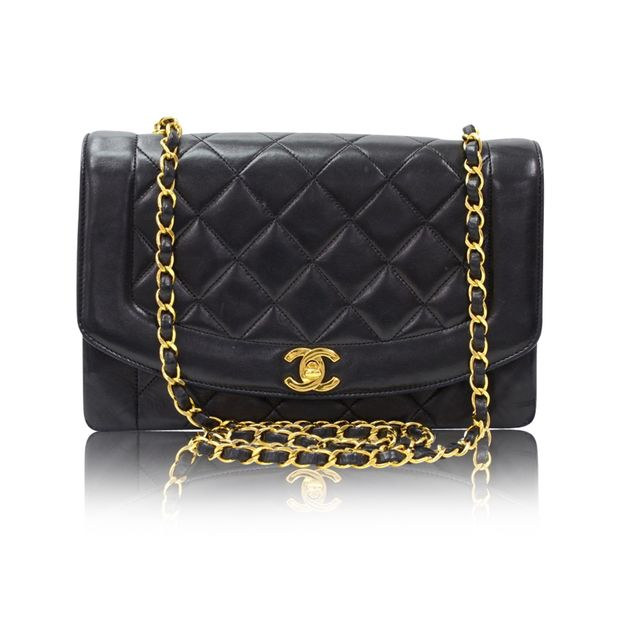 8c9db0ecd4d CHANEL Vintage 10 Diana Classic Black Quilted Leather Shoulder Flap Bag ...