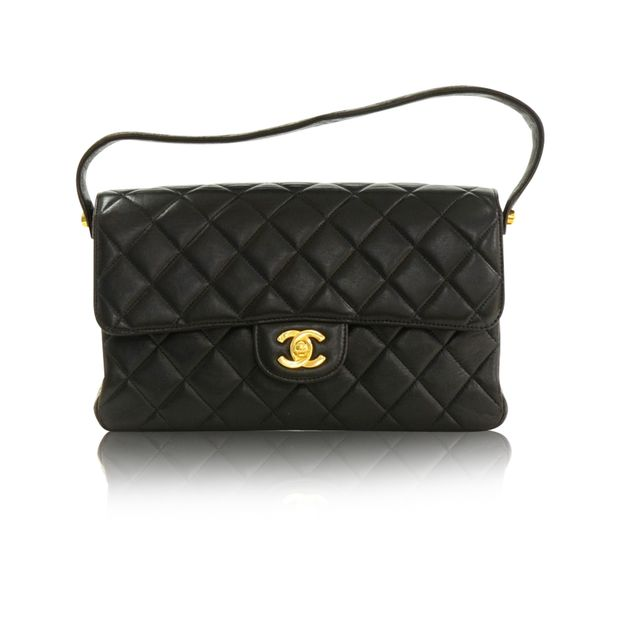 c626fec18e41 Vintage 10 Double Sided Black Quilted Leather Flap Handbag by CHANEL ...