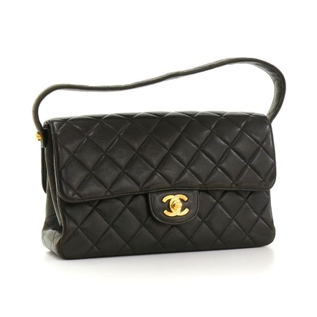 f1f9cc30b3c9 CHANEL Vintage 10 Double Sided Black Quilted Leather Flap Handbag 1  thumbnail