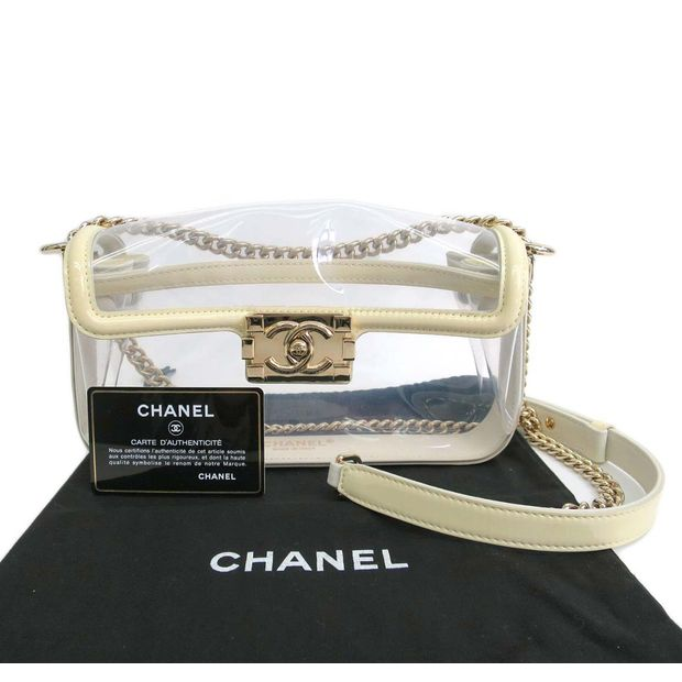 38bb09ca2a00 CHANEL White Transparent Patent Vinyl CC Chain Boy Chanel Shoulder Bag 4  thumbnail