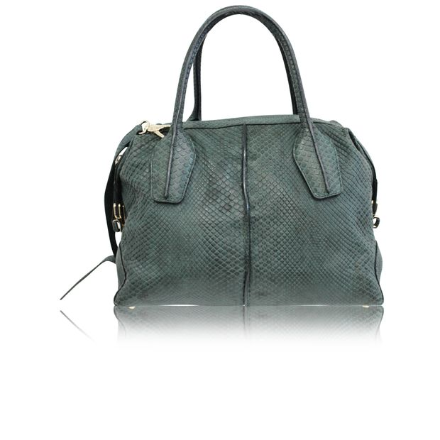 a90c2bfc38548 TOD'S Python Skin Green Leather D-Styling Bauletto Mini with detachable  Strap ...