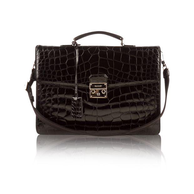 037426787d BALLY Black Patent Leather Croc Briefcase BALLY Black Patent Leather Croc  Briefcase zoomed