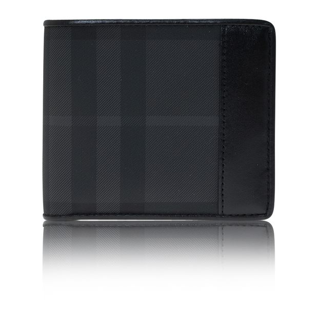 ef25e829c8e7 Black Horseferry Check Canvas and Leather Bi-Fold Wallet by BURBERRY ...