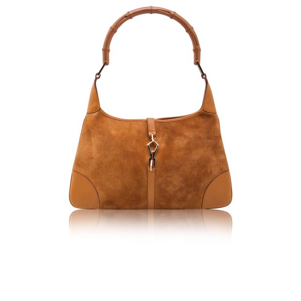 d2a7ba88 Camel Suede Jackie O Hobo Bamboo Handle Bag by GUCCI | StyleTribute.com