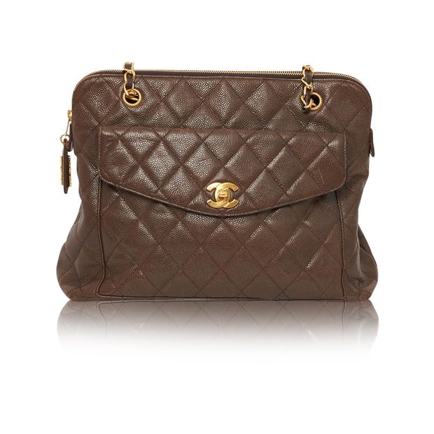 8b1eac5941dc Vintage brown caviar skin tote by CHANEL | StyleTribute.com