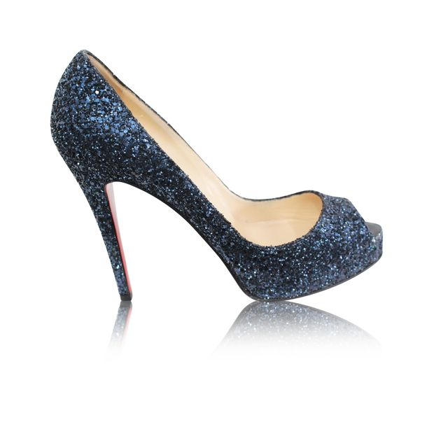 a4eac697a61 Glitter Open Toe Pumps In Navy