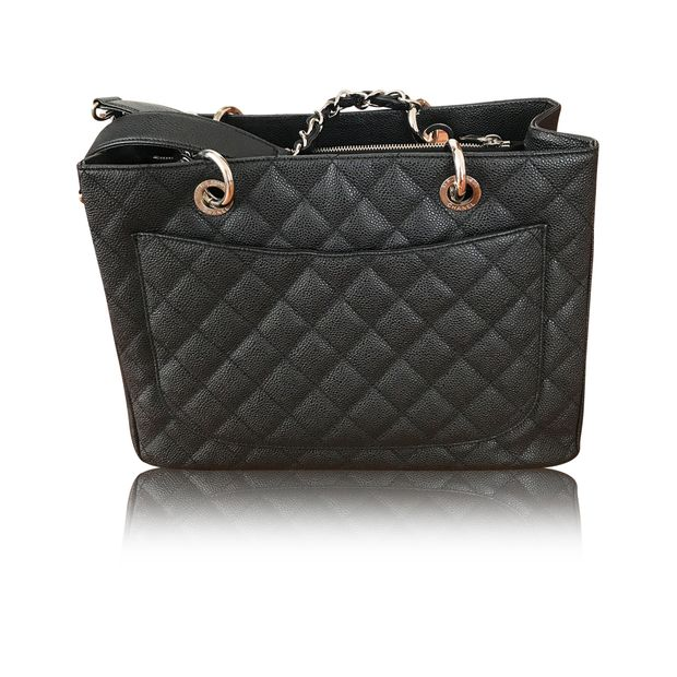 b4d258153d CHANEL Black Caviar Grand Shopping Tote