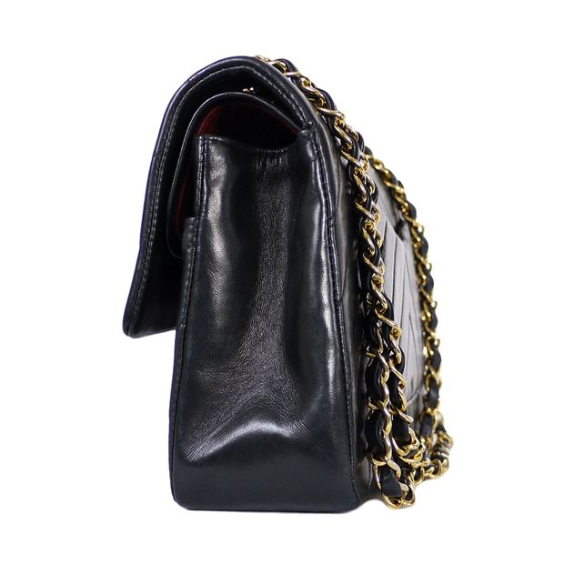 412284e8089f CHANEL Black Chevron Quilted Lambskin Leather Medium Classic Flap Shoulder  Bag 1 thumbnail