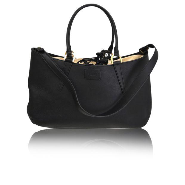 daa835a6c930 FENDI Black Leather Large  B. Fab  Gathered Tote 0 thumbnail