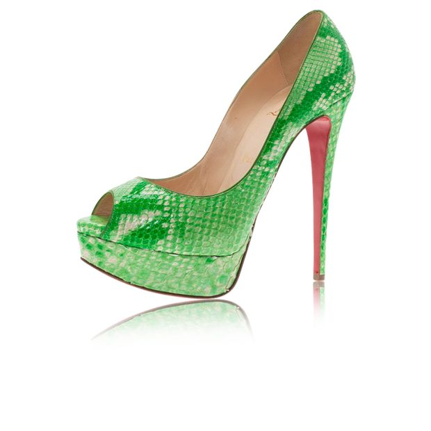 3ccae816d34 CHRISTIAN LOUBOUTIN Green Python Lady Peep Toe Platform Pumps 0 thumbnail