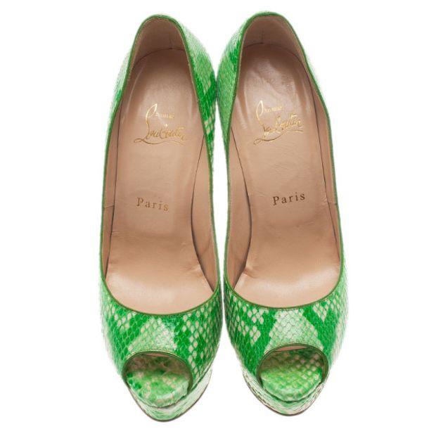 082956f95df5 CHRISTIAN LOUBOUTIN Green Python Lady Peep Toe Platform Pumps 1 thumbnail