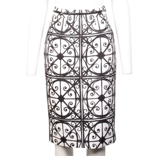 baa727c37229 Black And White Print Midi Skirt by KATE SPADE | StyleTribute.com