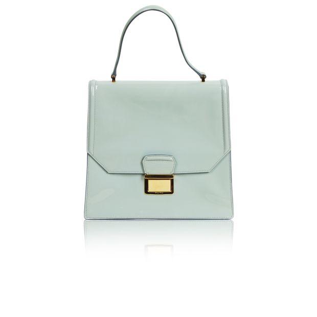97133e1f4b40 Mint Green Patent Leather Briefcase Bag by MIU MIU