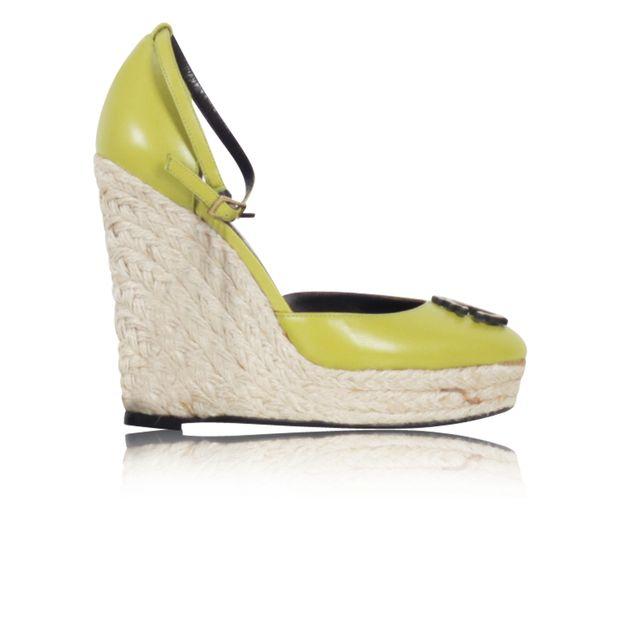 3584afc5dad ROBERTO CAVALLI Green Espadrille Wedge Sandals 0 thumbnail