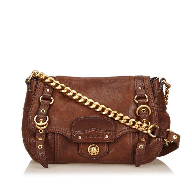 2e414ebb432fa Leather Chain Shoulder Bag by MIU MIU   StyleTribute.com