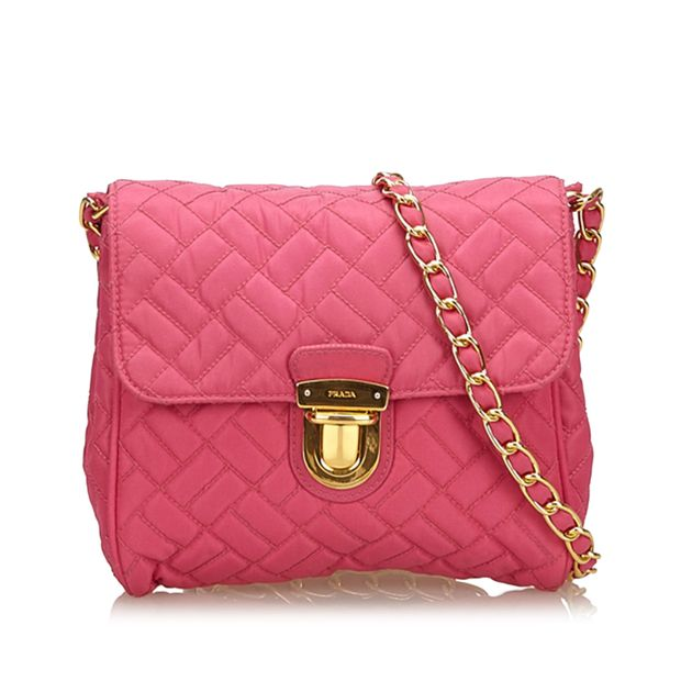 d321beeb08ce Quilted Nylon Chain Shoulder Bag by PRADA
