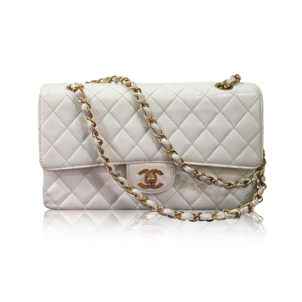 56a5531b467b White Caviar Medium Double Flap 24K GHW by CHANEL | StyleTribute.com