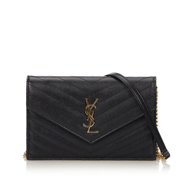 272d8e93369 Leather Monogram Wallet on Chain by YVES SAINT LAURENT ...