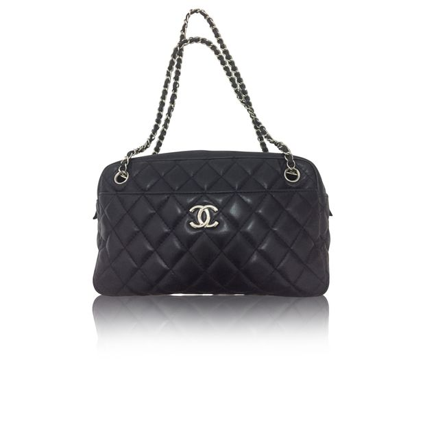 dcae9be9545621 Dark Blue Lambskin Quilted Shoulder Bag by CHANEL | StyleTribute.com