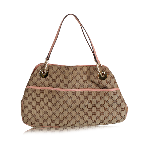 c39618015562 Gucci Monogram Bag with pink handles by GUCCI | StyleTribute.com