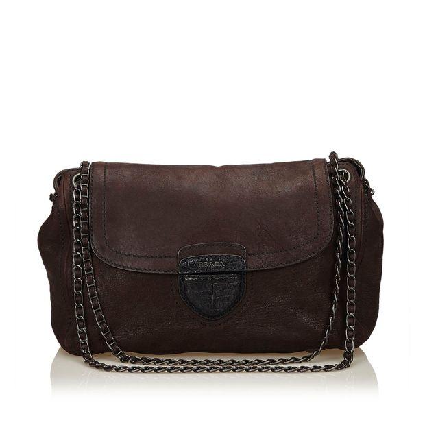 666f88d8ff5551 Leather Pattina Glace Shoulder Bag by PRADA | StyleTribute.com