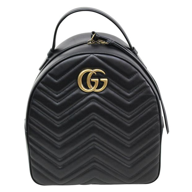 11bf0941734b71 GG Black Marmont Quilted Leather Backpack by GUCCI | StyleTribute.com