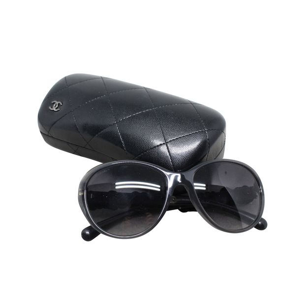 ea05abb96a2 Leather Camellia Flower Sunglasses by CHANEL