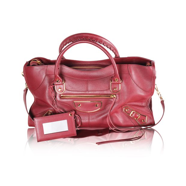 66150597c59e BALENCIAGA Burgundy Classic Metallic Edge City Bag 3 thumbnail