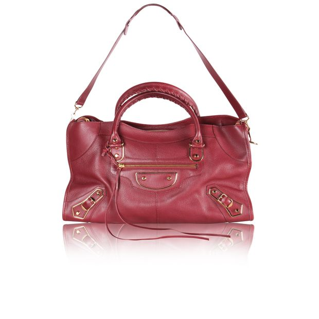 994a21a9e42 Burgundy Classic Metallic Edge City Bag by BALENCIAGA | StyleTribute.com