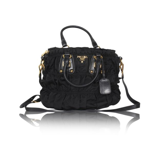 adba9cbb1ac0ff Black Nylon Tessuto Gaufre Bag by PRADA   StyleTribute.com