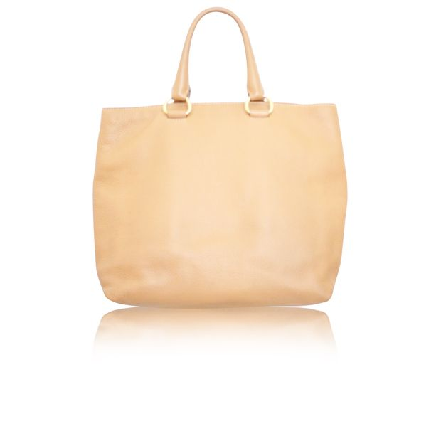 898d4d44560c63 Camel Leather Tote by PRADA | StyleTribute.com