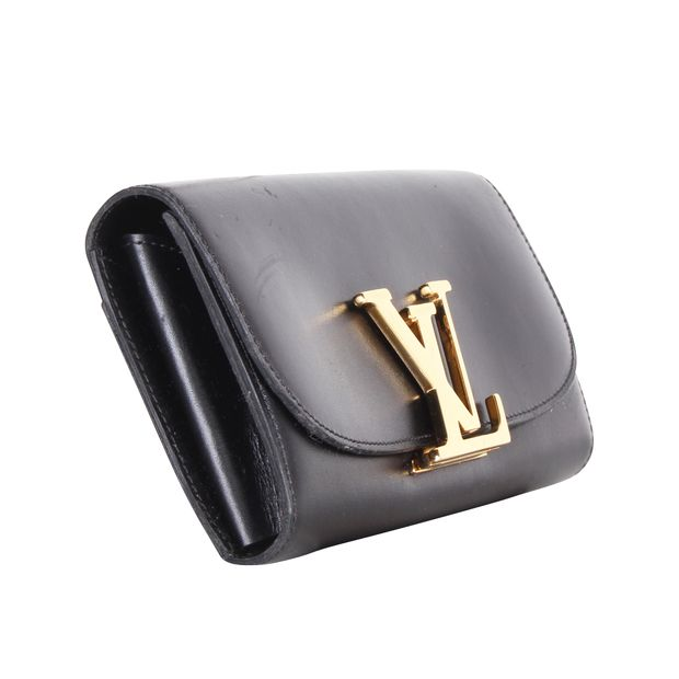 Black Long Wallet With Gold Logo