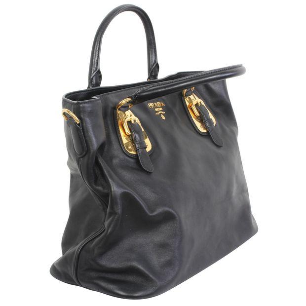 1e30a206b10dfd Black Leather Tote Bag by PRADA | StyleTribute.com