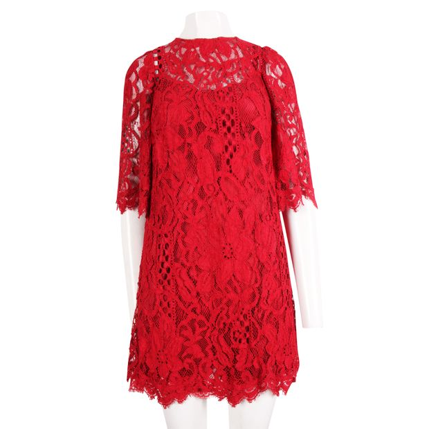 4e424d7a Red Lace Dress by DOLCE & GABBANA | StyleTribute.com