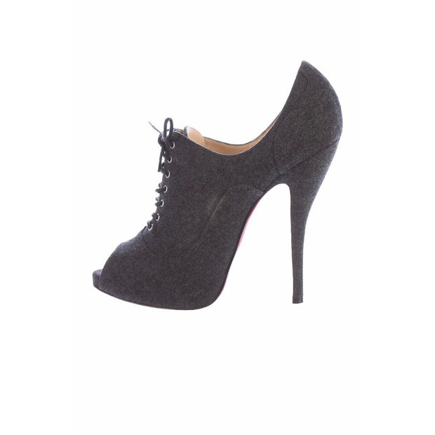 e757c0d75e Peep Toe Lace Up Wool Booties by CHRISTIAN LOUBOUTIN | StyleTribute.com